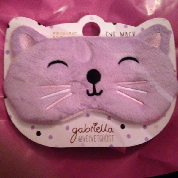 Primark Gabriella Cat Eye Mask Travel Sleep Blindfold Velvet Ghost