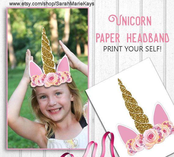Printable Unicorn Party Headband, Unicorn Print Outs, Unicorn