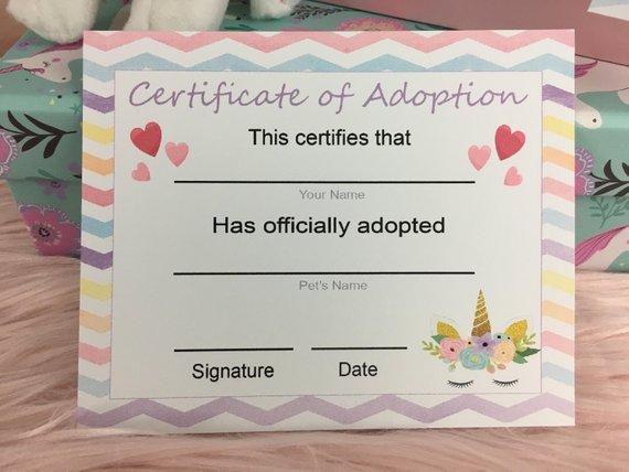 Printed Adopt A Unicorn Certificate