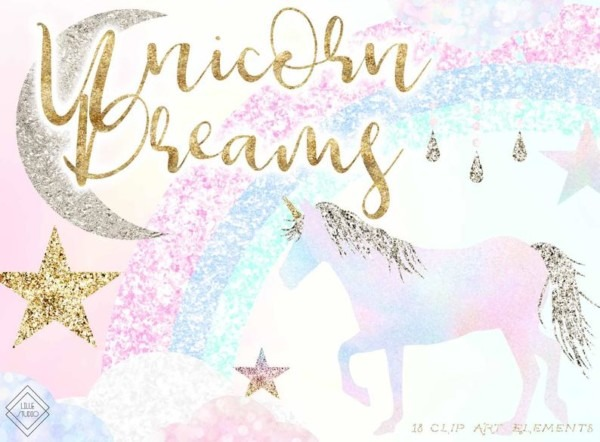 Rainbow Unicorn Clipart Glitter Unicorn Clip Art Pastel