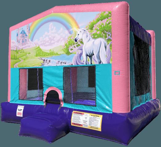 Rainbow Unicorn Sparkly Pink Bounce House Rental