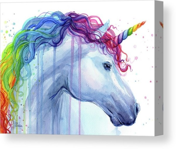 Rainbow Unicorn Watercolor Canvas Print   Canvas Art By Olga Shvartsur