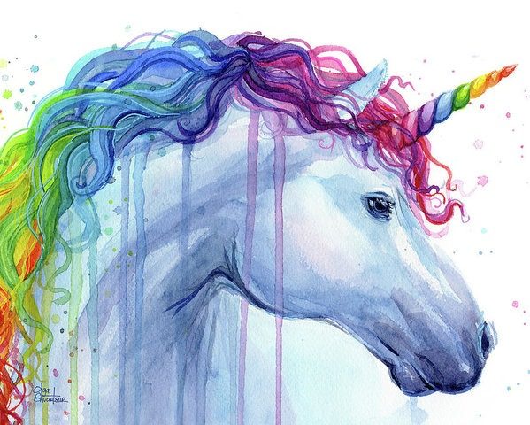 Rainbow Unicorn Watercolor Poster By Olga Shvartsur