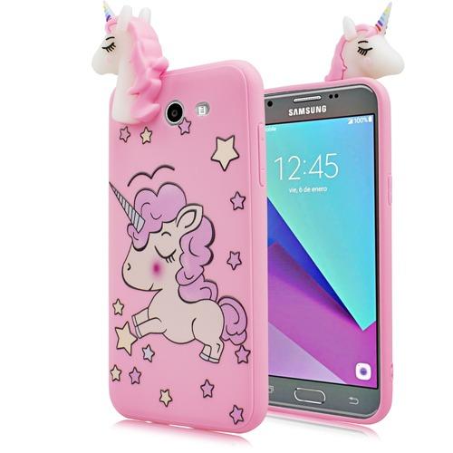 Samsung Galaxy J7 Prime J727t 4d Tpu Unicorn Case Cover Stars Pink