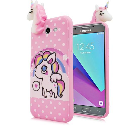 Samsung Galaxy J7 Sky Pro 4d Tpu Unicorn Case Cover Polka Dot