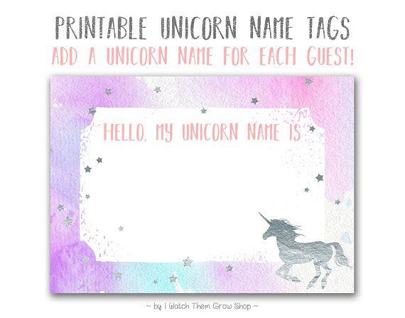 Silver Unicorn Name Tags, Printable Unicorn Name Stickers, Unicorn