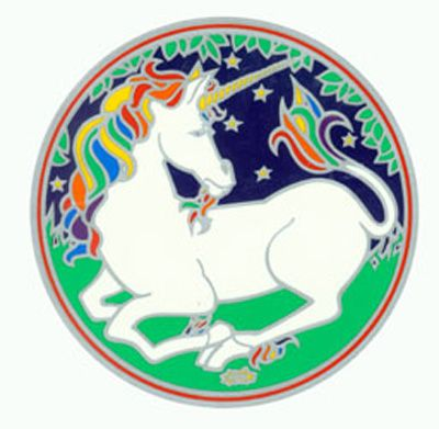 Stained Glass  Unicorn Decal