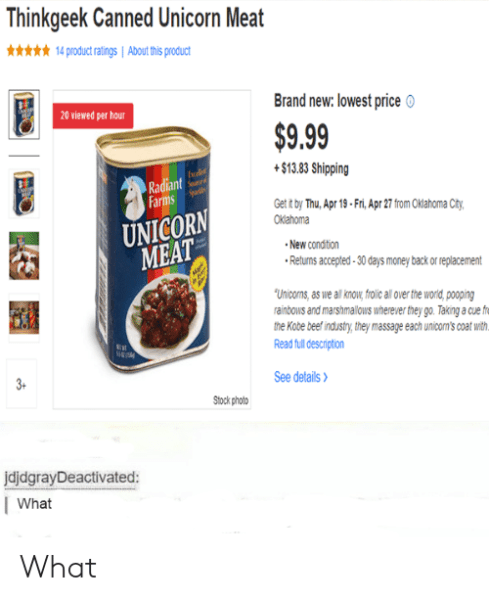 Thinkgeek Canned Unicorn Meat X14 Product Ratings