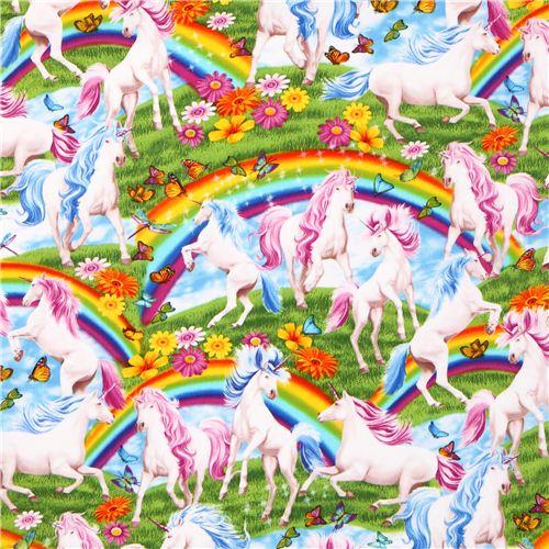 Timeless Treasures Rainbow Unicorn Fairy Tale Fabric From The Usa