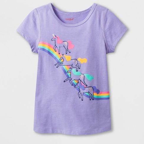Toddler Girls' Adaptive Short Sleeve Unicorn Rainbow Graphic T