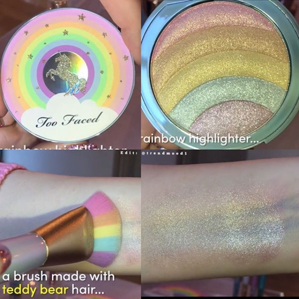 Too Faced Unicorn Brush And Rainbow Highlighter  Facemakeup