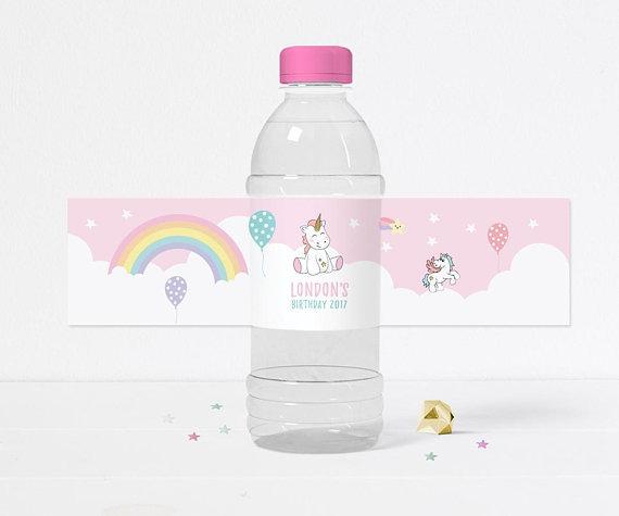 Unicorn Bottle Label, Printable Unicorn Water Bottle Label