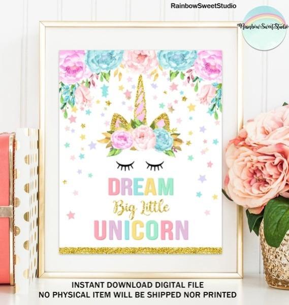 Unicorn Dream Big Little Unicorn Nursery Decor Unicorn Wall