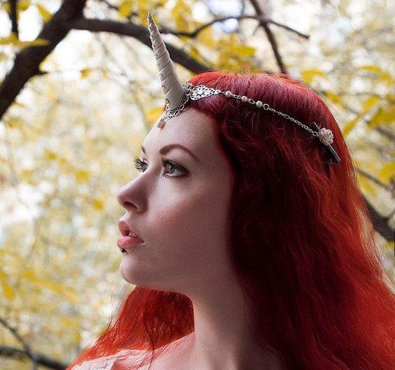 Unicorn Horn Headpiece Headdress Circlet, Fantasy Pegasus Hairband