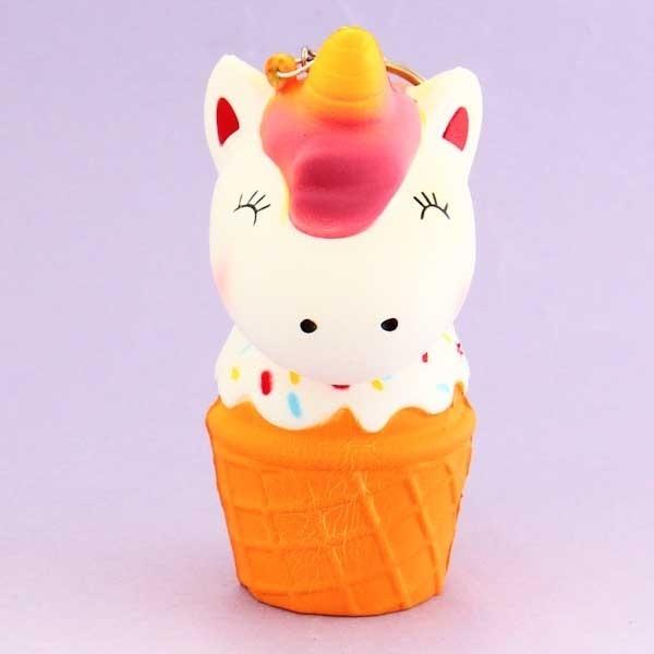 Unicorn In Ice Cream Squishy Keychain