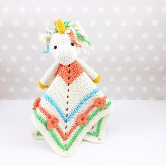 Unicorn Lovey Pattern Security Blanket Crochet Unicorn Pdf