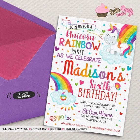 Unicorn Rainbow Birthday Party Invitations Diy Unicorn Rainbow