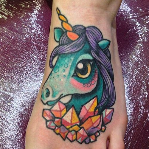 Unicorn Tattoo New School