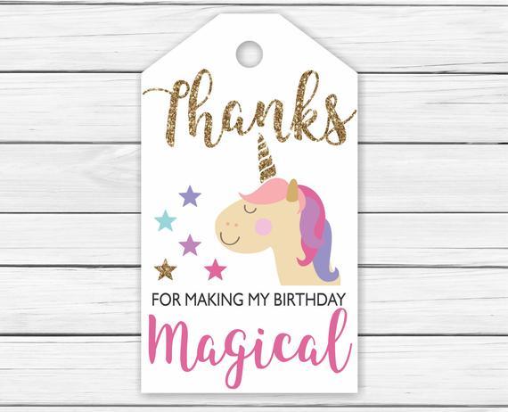 Unicorn Thank You Tags Printable Printable Unicorn Thank You