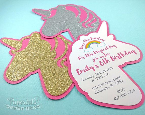 Unicorn Theme Personalized Gold Or Silver Sparkle Birthday Party
