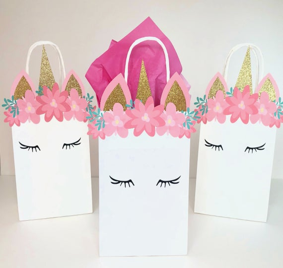 Unicorn Themed Birthday Party Favor Bags Party Favor Bags For