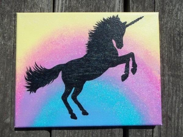 Unicorn Wall Art Unicorn Painting Canvas Painting Hand