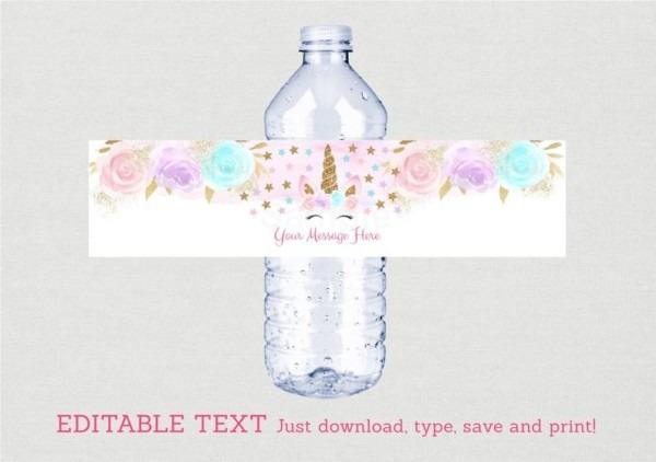 Unicorn Water Bottle Labels   Unicorn Baby Shower   Pink &