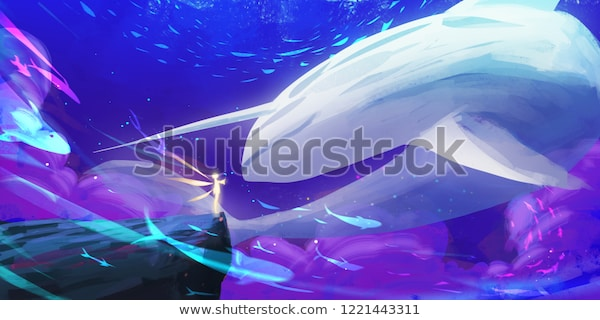 Unicorn Whale World Spitpaint Speedpaint Concept Stock