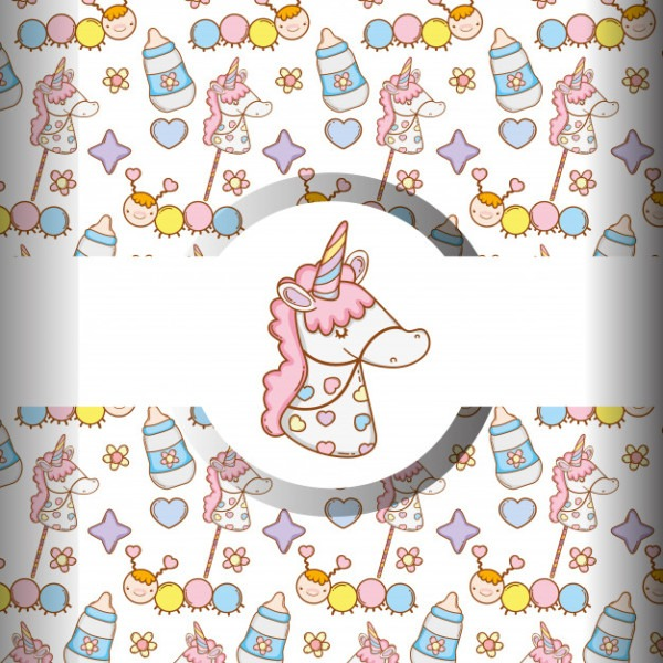 Unicorn With Feedin Bottle And Baby Things Background Vector