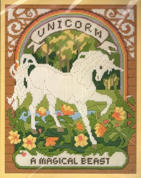 Vintage 80s Unicorn Needlepoint Pattern   Complete By Scarlettess