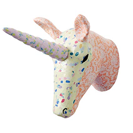 Wall Hanging Paper Mache Unicorn Head In Choice Of Colours