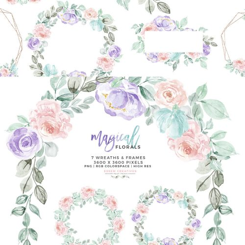 Watercolor Winter Floral Wreath Frames Clipart, Unicorn Rainbow