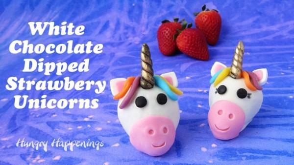 White Chocolate Dipped Strawberry Unicorns