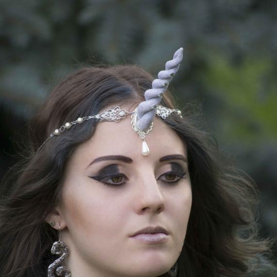 White Unicorn Horn Headpiece Halloween Headdress Circlet