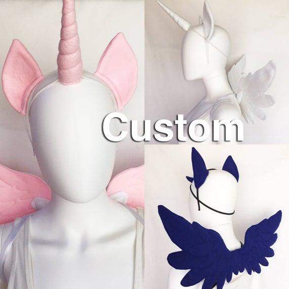 Winged Unicorn Costume Set Custom Color Unicorn Horn Pony Ears