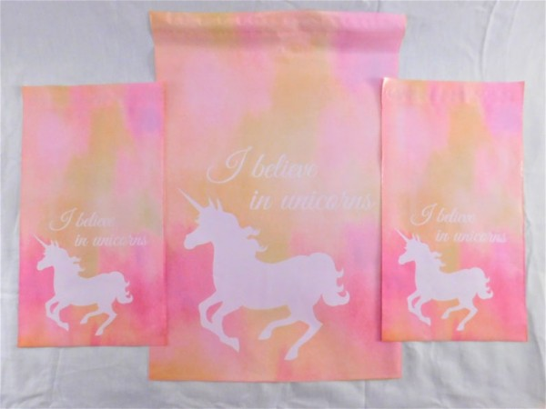 100 Designer Pink Unicorn 10x13 And 6x9 Poly Mailers Self Seal