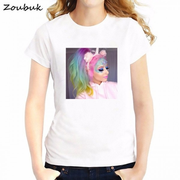 2018 New Chic Unicorn T Shirt Rainbow Tshirt Men Women Unicorn