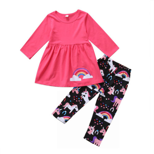 2pcs Kid Girls Clothing Set Toddler Kids Baby Girl Unicorn Clothes