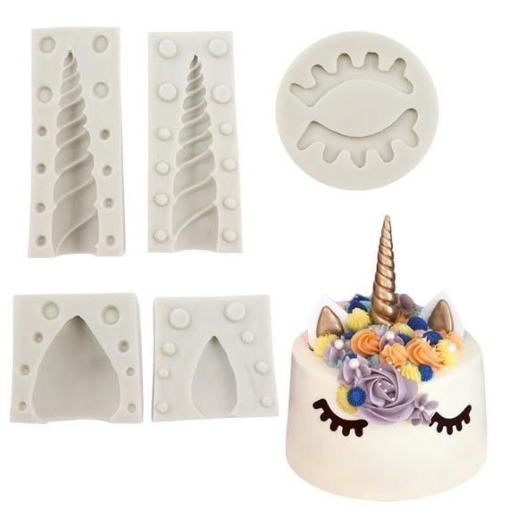 3d Unicorn Mold Set Silicone Unicorn Topper Shaped Cake