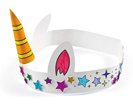 Amazon Com  12 Colour Your Own Unicorn Horn Crowns For Kids