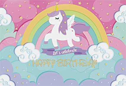 Amazon Com   Aofoto 7x5ft Cute Unicorn Backdrop Happy Birthday