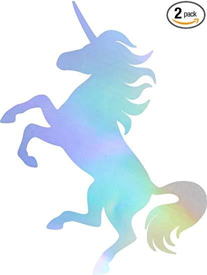 Amazon Com  Angdest Unicorn Silhouette Funny (hologram) (set Of 2