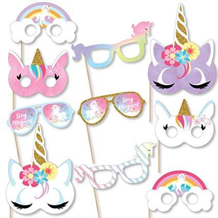 Amazon Com  Big Dot Of Happiness Rainbow Unicorn Glasses & Masks