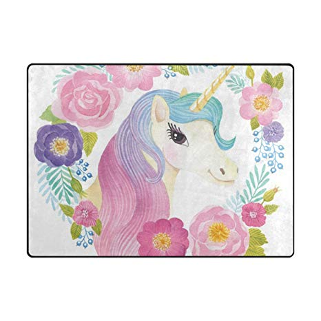 Amazon Com  Cooper Girl Unicorn Flowers Rose Kids Area Rug