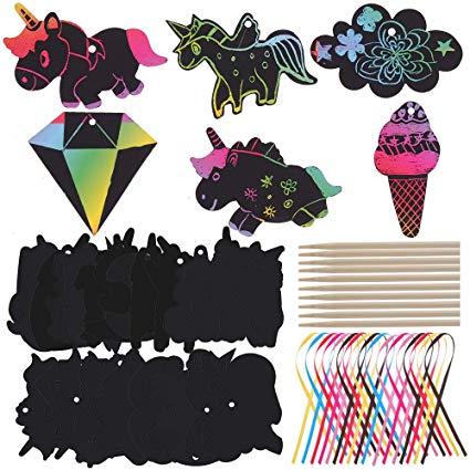 Amazon Com  Faburo 50 Set Unicorn Scratch Art Paper, Art Rainbow