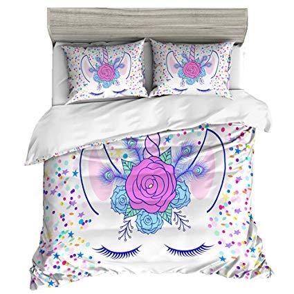 Amazon Com  Hyukoa Unicorn Bedding Set Girls Cartoon Unicorn
