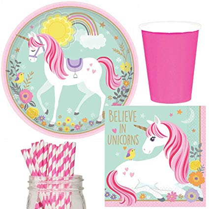 Amazon Com  Magical Unicorn Party Supplies Bundle, Plates, Napkins