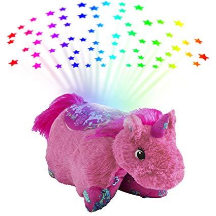 Amazon Com  Pillow Pets Colorful Pink Unicorn Sleeptime Lite Plush