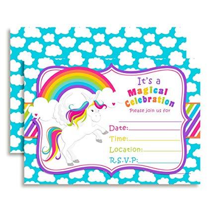 Amazon Com  Rainbow Unicorn Birthday Party Invitations, 20 5 X7