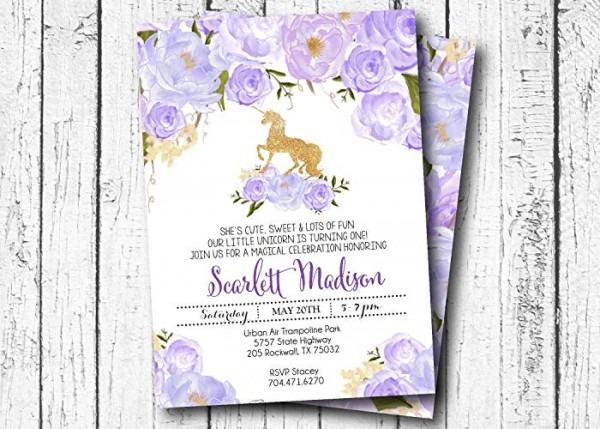 Amazon Com  Unicorn Birthday Invitation, Gold And Purple Unicorn